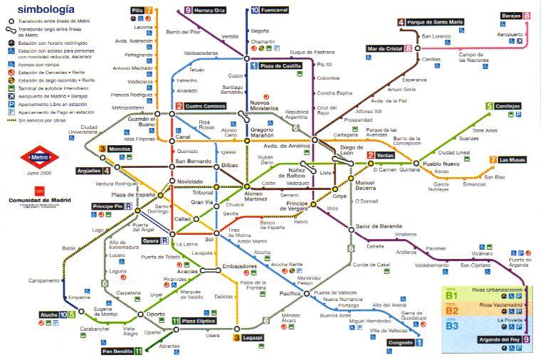 Карта Метро Мадрид Испания.