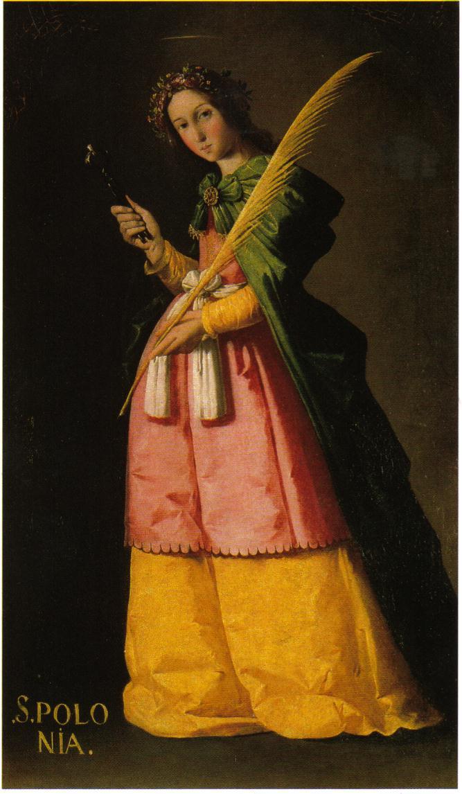 Cette petite image pieuse représente Sainte Apolline, identifiée grâce à ses attributs, une tenaille et une dent. Elle porte également la palme des béatifiées et la couronne des vierges martyres. - tableau de francisco zurbaran